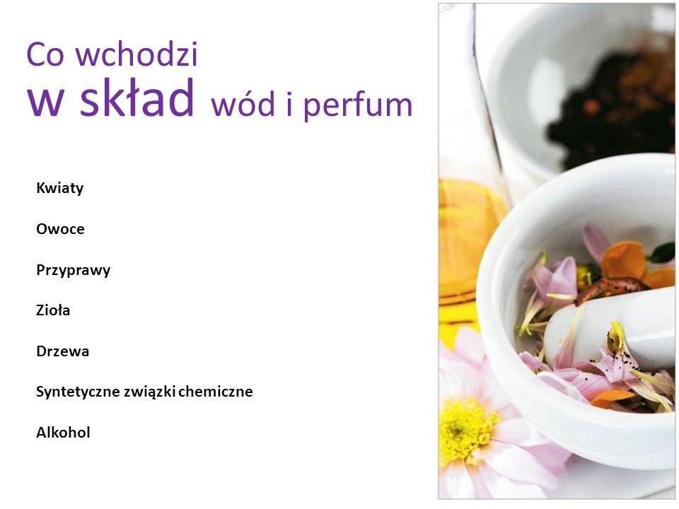 Kwiaty Owoce Przyprawy Zioła Drzewa Syntetyczne związki chemiczne Alkohol Co wchodzi w skład wód i perfum