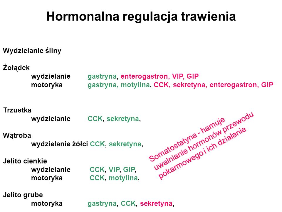 Hormonalna regulacja trawienia Wydzielanie śliny Żołądek wydzielaniegastryna, enterogastron, VIP, GIP motorykagastryna, motylina, CCK, sekretyna, ente