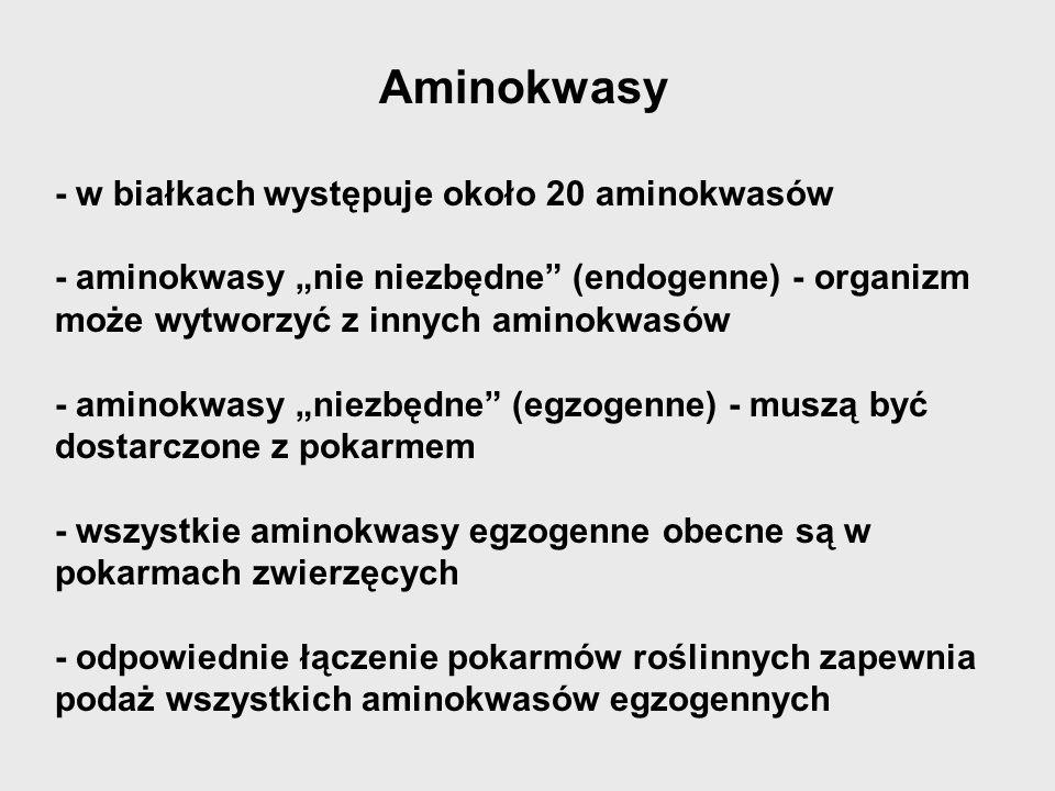 Aminokwasy - w białkach występuje około 20 aminokwasów - aminokwasy nie niezbędne (endogenne) - organizm może wytworzyć z innych aminokwasów - aminokw