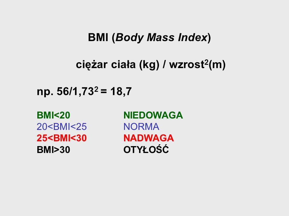 BMI (Body Mass Index) ciężar ciała (kg) / wzrost 2 (m) np. 56/1,73 2 = 18,7 BMI<20NIEDOWAGA 20<BMI<25NORMA 25<BMI<30NADWAGA BMI>30OTYŁOŚĆ