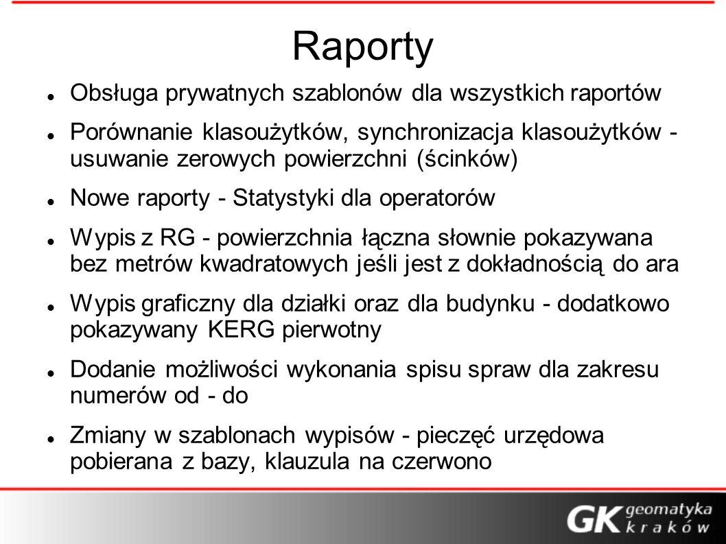 Raporty Obsługa prywatnych szablonów dla wszystkich raportów Porównanie klasoużytków, synchronizacja klasoużytków - usuwanie zerowych powierzchni (ści
