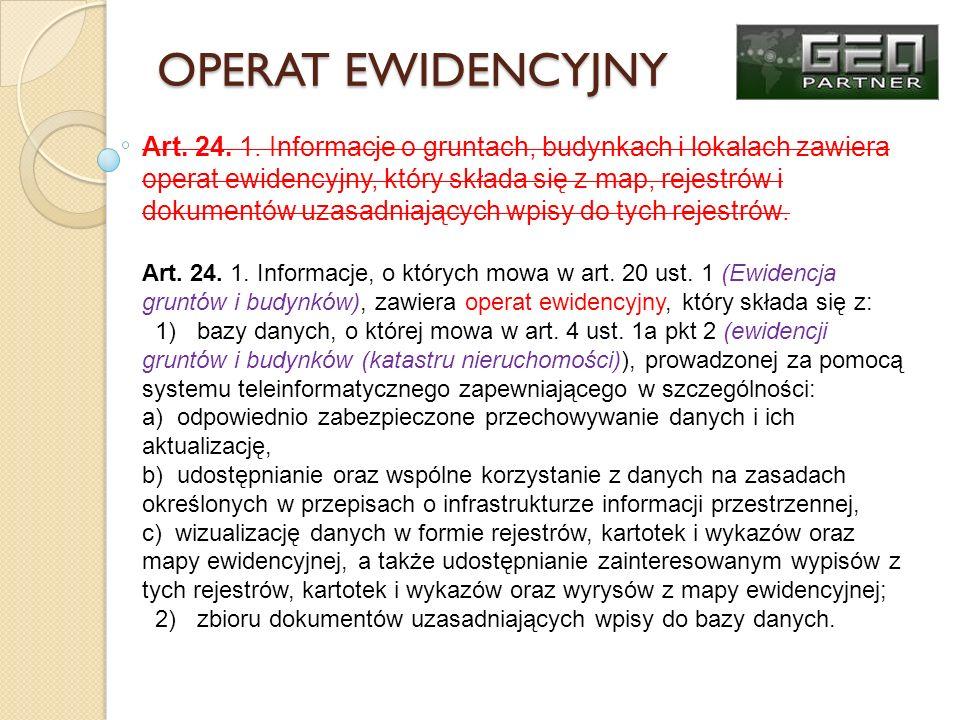 Udostępnianie informacji Udostępnianie informacji zawartych w operacie ewidencyjnym określono w art.