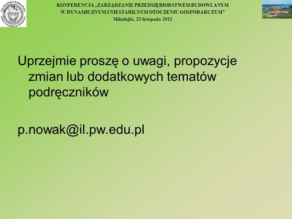 KONFERENCJA ZARZĄDZANIE PRZEDSIĘBIORSTWEM BUDOWLANYM W DYNAMICZNYM I NIESTABILNYM OTOCZENIU GOSPODARCZYM Mikołajki, 23 listopada 2012 Uprzejmie proszę
