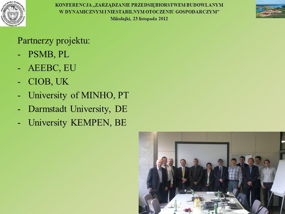 KONFERENCJA ZARZĄDZANIE PRZEDSIĘBIORSTWEM BUDOWLANYM W DYNAMICZNYM I NIESTABILNYM OTOCZENIU GOSPODARCZYM Mikołajki, 23 listopada 2012 Partnerzy projek