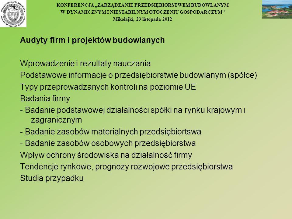 KONFERENCJA ZARZĄDZANIE PRZEDSIĘBIORSTWEM BUDOWLANYM W DYNAMICZNYM I NIESTABILNYM OTOCZENIU GOSPODARCZYM Mikołajki, 23 listopada 2012 Audyty firm i pr