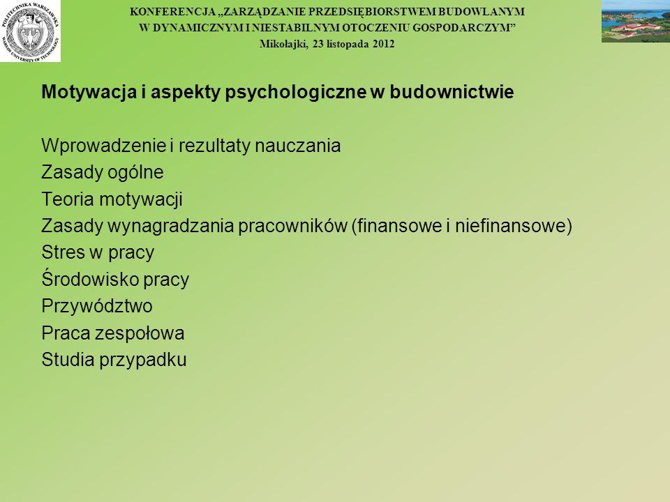 KONFERENCJA ZARZĄDZANIE PRZEDSIĘBIORSTWEM BUDOWLANYM W DYNAMICZNYM I NIESTABILNYM OTOCZENIU GOSPODARCZYM Mikołajki, 23 listopada 2012 Motywacja i aspe
