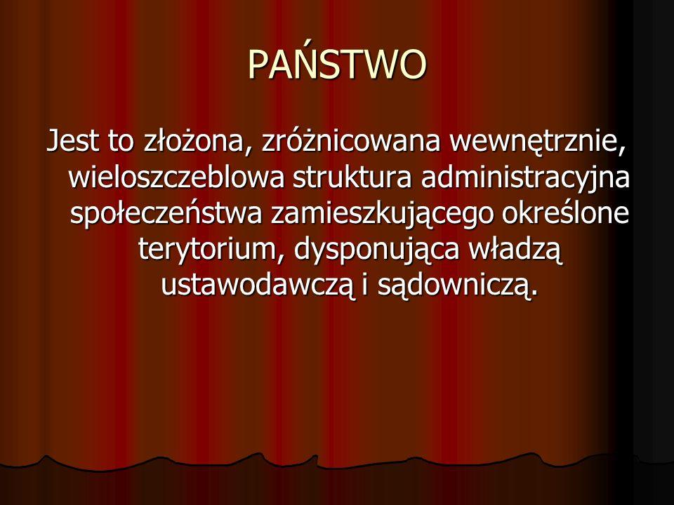 PAŃSTWO Jest to złożona, zróżnicowana wewnętrznie, wieloszczeblowa struktura administracyjna społeczeństwa zamieszkującego określone terytorium, dyspo