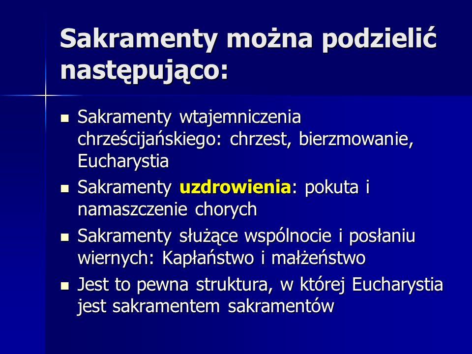 Sakramenty można podzielić następująco: Sakramenty wtajemniczenia chrześcijańskiego: chrzest, bierzmowanie, Eucharystia Sakramenty wtajemniczenia chrz