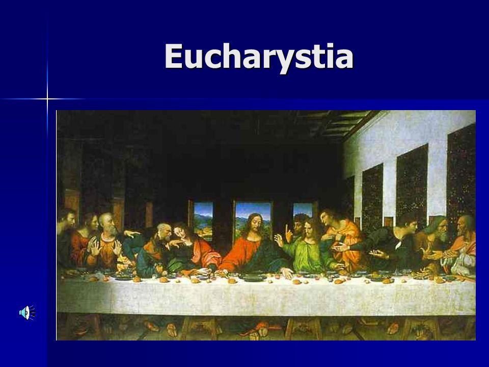 SAKRAMENT EUCHARYSTII Najświętsza Eucharystia dopełnia wtajemniczenie chrześcijańskie Najświętsza Eucharystia dopełnia wtajemniczenie chrześcijańskie Eucharystia jako pokarm duchowy, dzięki któremu człowiek rozwija się duchowo i doskonali.