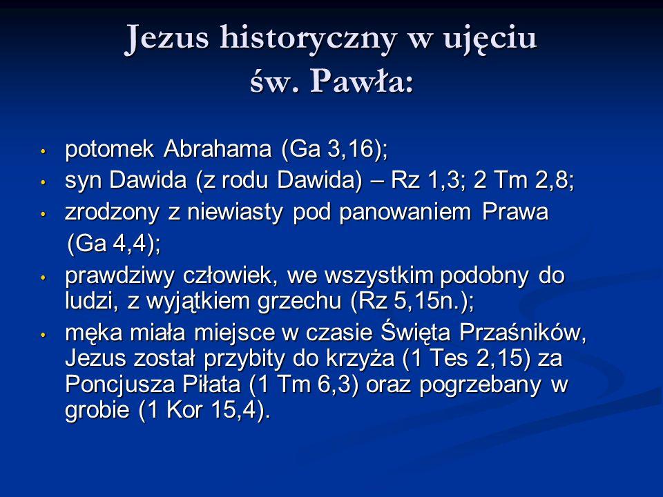Jezus historyczny w ujęciu św. Pawła: potomek Abrahama (Ga 3,16); potomek Abrahama (Ga 3,16); syn Dawida (z rodu Dawida) – Rz 1,3; 2 Tm 2,8; syn Dawid