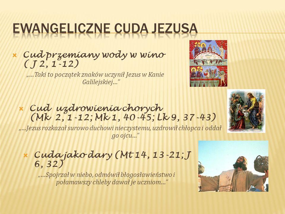Cud przemiany wody w wino ( J 2, 1-12) …Taki to początek znaków uczynił Jezus w Kanie Galilejskiej… Cud uzdrowienia chorych (Mk 2, 1-12; Mk 1, 40-45;
