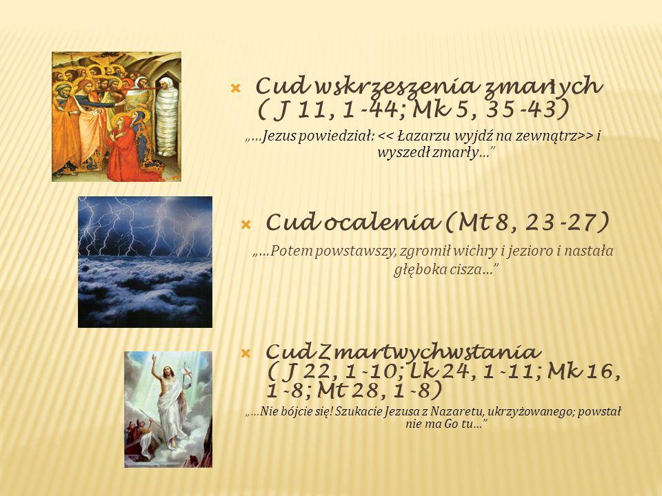 Cud wskrzeszenia zmar ł ych ( J 11, 1-44; Mk 5, 35-43) …Jezus powiedział: > i wyszedł zmarły… Cud ocalenia (Mt 8, 23-27) …Potem powstawszy, zgromił wi