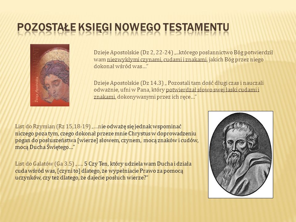 Dzieje Apostolskie (Dz 2, 22-24)..którego posłannictwo Bóg potwierdził wam niezwykłymi czynami, cudami i znakami, jakich Bóg przez niego dokonał wśród