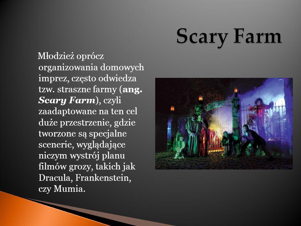 Młodzież oprócz organizowania domowych imprez, często odwiedza tzw. straszne farmy (ang. Scary Farm), czyli zaadaptowane na ten cel duże przestrzenie,