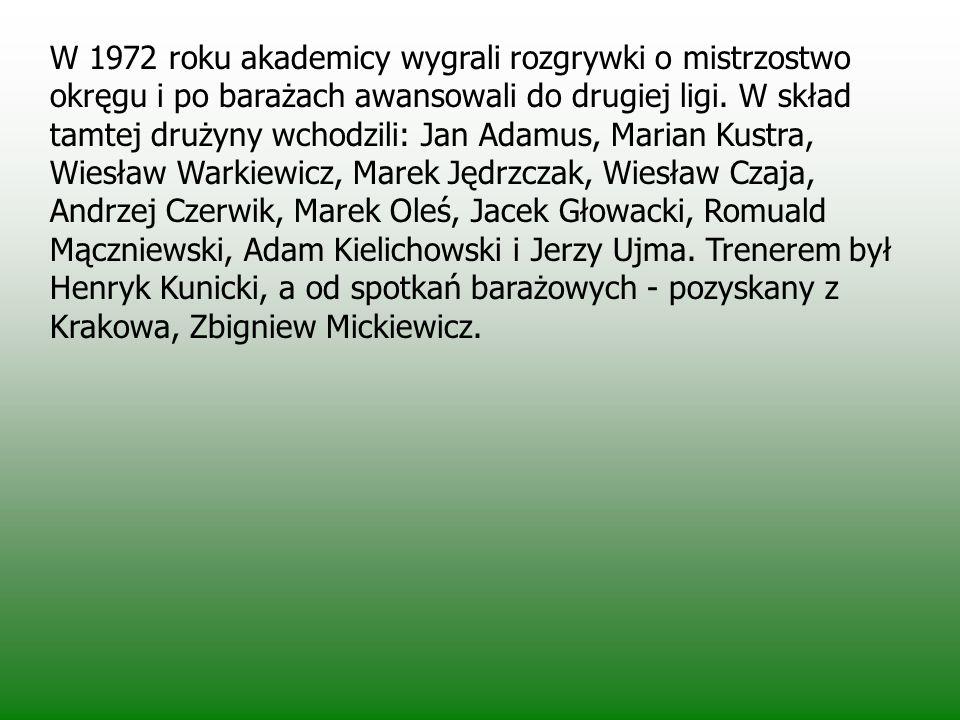 W barwach ówczesnego AZS wystąpili: Władysław Zajda, Dariusz Białek, Marian Dulęba, Andrzej Grabowski, Henryk Potelarski, Marian Kik, Henryk Kotowski,