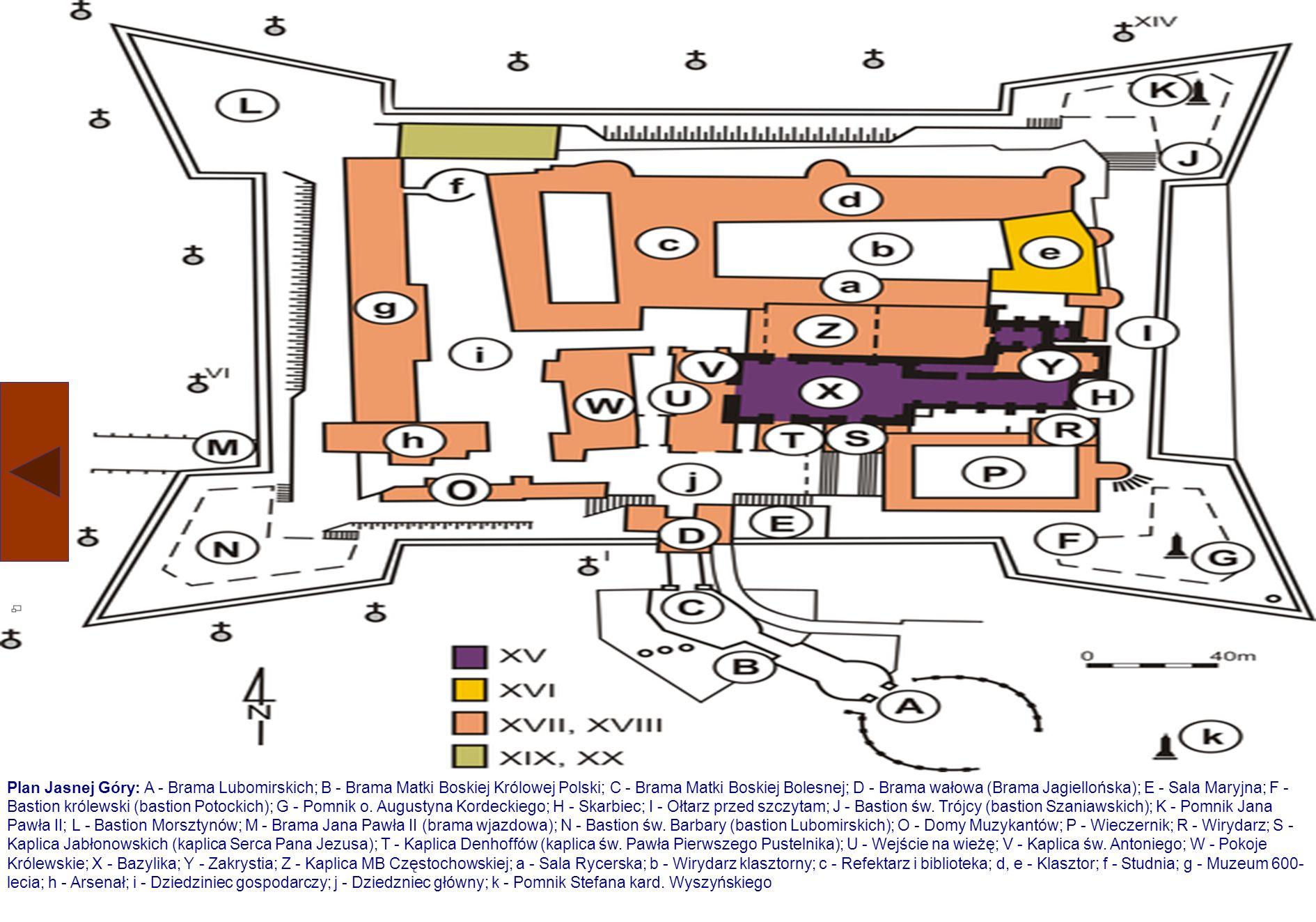 Jasna Góra Zabudowa Budowle klasztoru i kościoła na Jasnej Górze powstały w równym okresie czasu. Najstarsze, bazylika, prezbiterium Kaplicy Cudownego