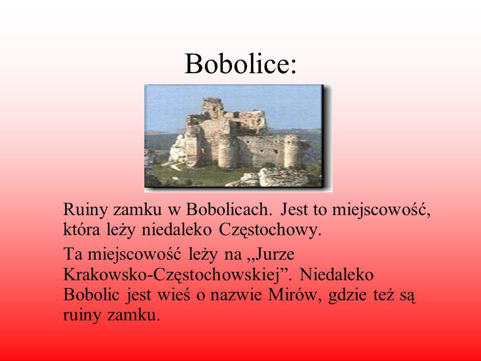 Bobolice: Ruiny zamku w Bobolicach. Jest to miejscowość, która leży niedaleko Częstochowy. Ta miejscowość leży na,,Jurze Krakowsko-Częstochowskiej. Ni