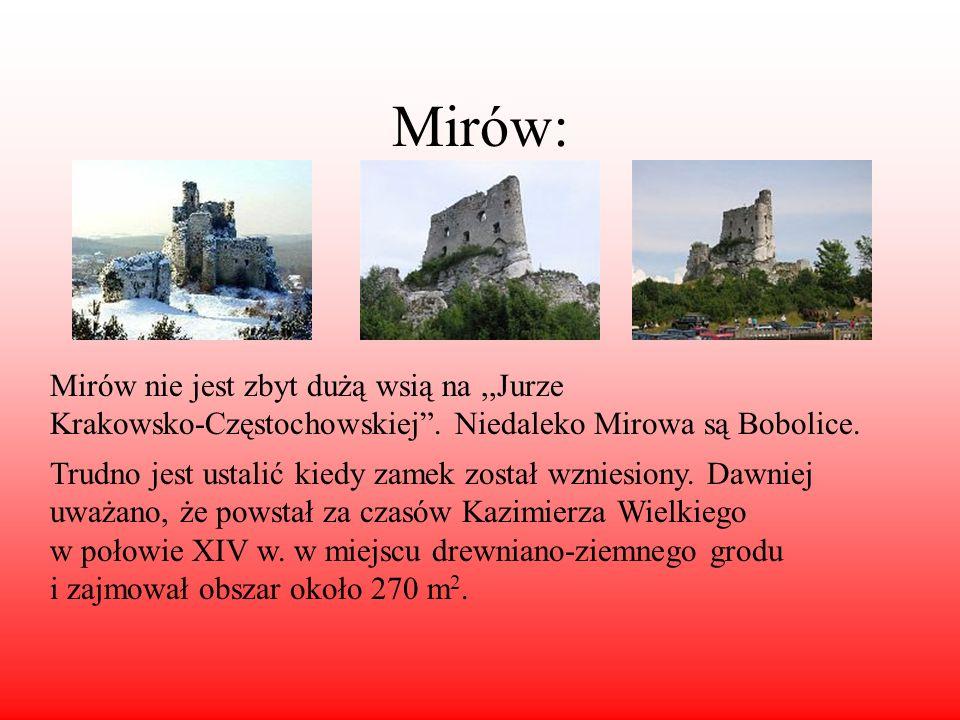Mirów: Mirów nie jest zbyt dużą wsią na,,Jurze Krakowsko-Częstochowskiej. Niedaleko Mirowa są Bobolice. Trudno jest ustalić kiedy zamek został wzniesi
