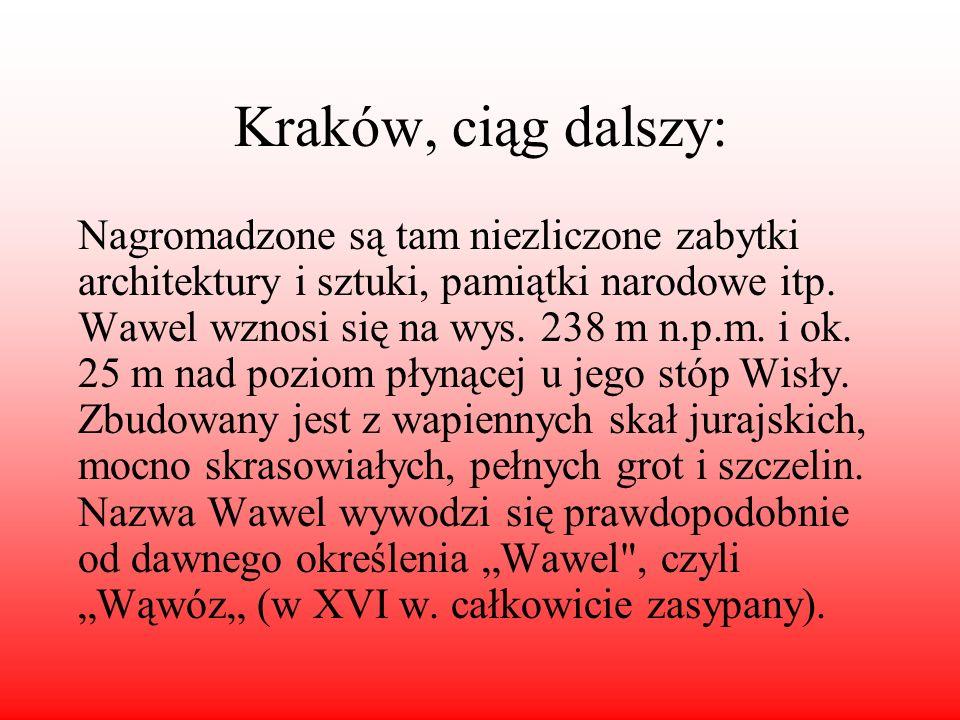 Kraków, ciąg dalszy: Nagromadzone są tam niezliczone zabytki architektury i sztuki, pamiątki narodowe itp. Wawel wznosi się na wys. 238 m n.p.m. i ok.