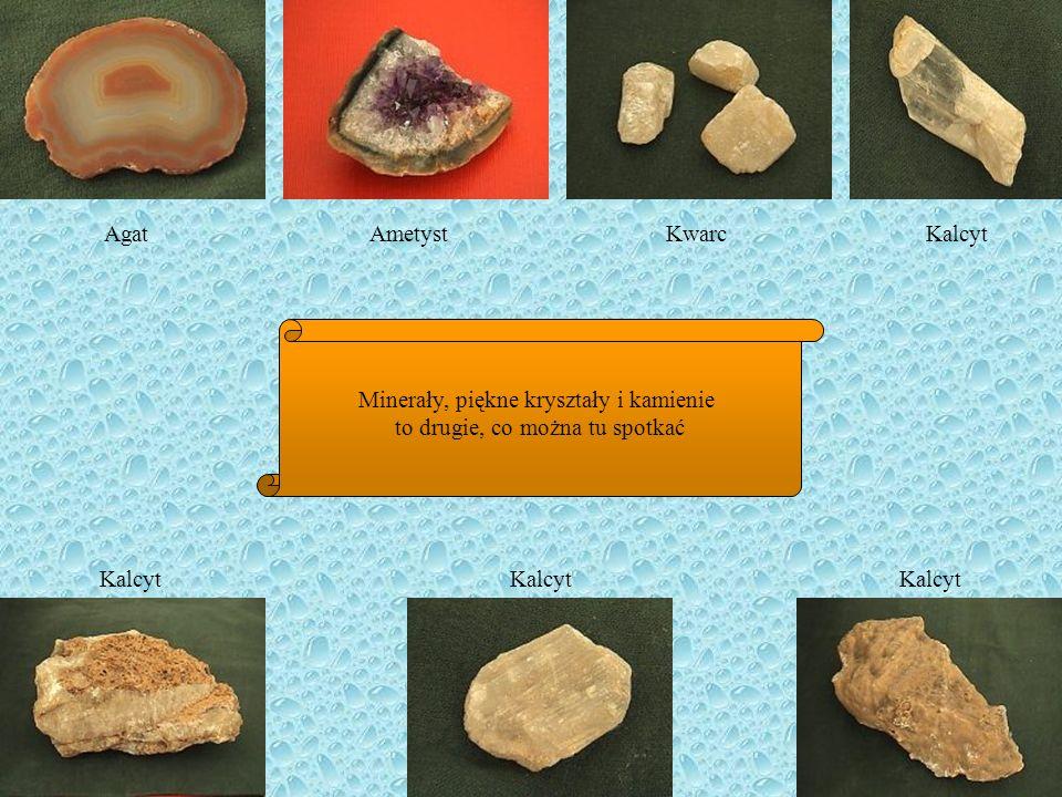 Agat Ametyst Kwarc Kalcyt Minerały, piękne kryształy i kamienie to drugie, co można tu spotkać Kalcyt