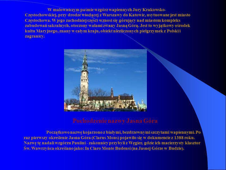 W malowniczym paśmie wzgórz wapiennych Jury Krakowsko- Częstochowskiej, przy drodze wiodącej z Warszawy do Katowic, usytuowane jest miasto Częstochowa