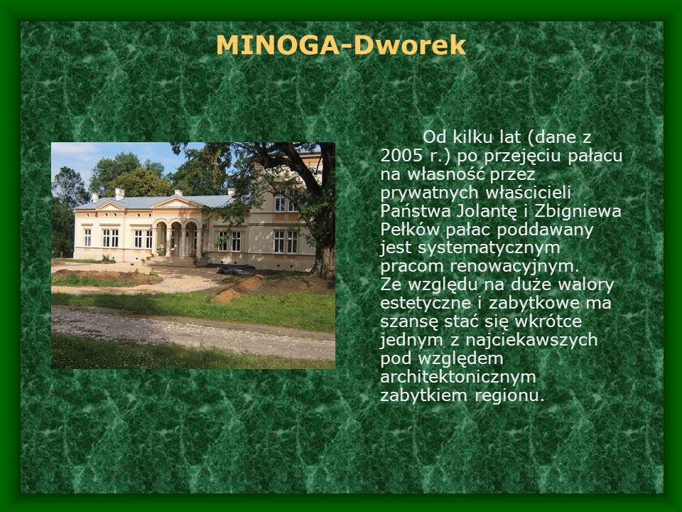 MINOGA-Dworek Od kilku lat (dane z 2005 r.) po przejęciu pałacu na własność przez prywatnych właścicieli Państwa Jolantę i Zbigniewa Pełków pałac podd