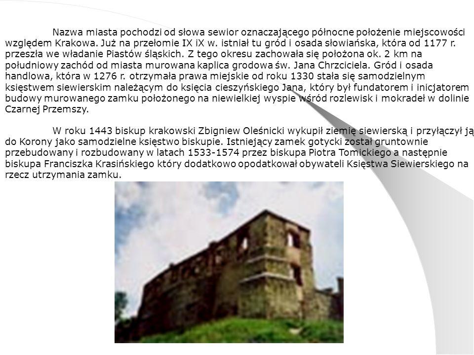 Nazwa miasta pochodzi od słowa sewior oznaczającego północne położenie miejscowości względem Krakowa.