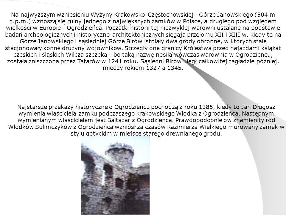 Na najwyższym wzniesieniu Wyżyny Krakowsko-Częstochowskiej - Górze Janowskiego (504 m n.p.m.) wznoszą się ruiny jednego z największych zamków w Polsce, a drugiego pod względem wielkości w Europie - Ogrodzieńca.