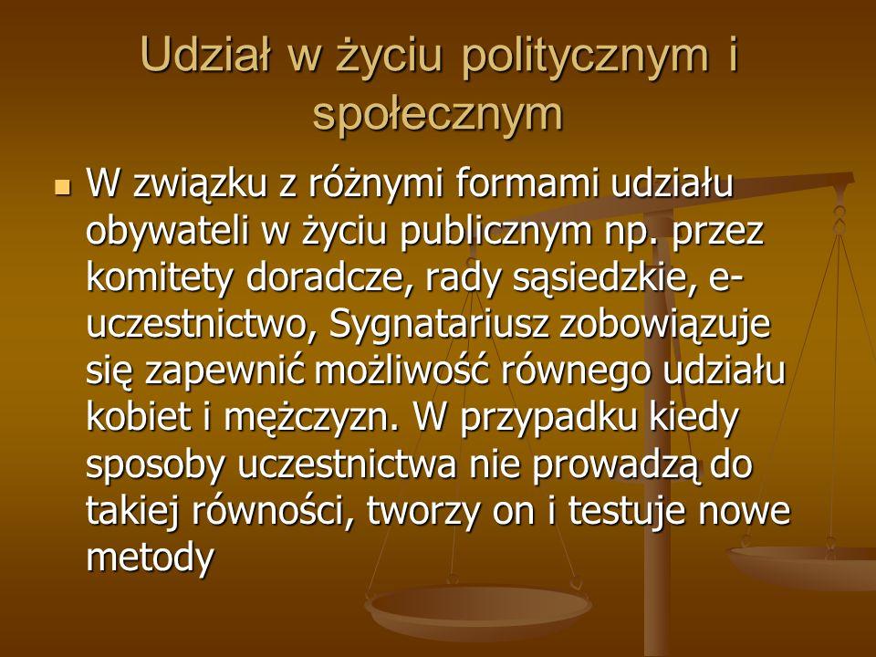 Udział w życiu politycznym i społecznym W związku z różnymi formami udziału obywateli w życiu publicznym np. przez komitety doradcze, rady sąsiedzkie,