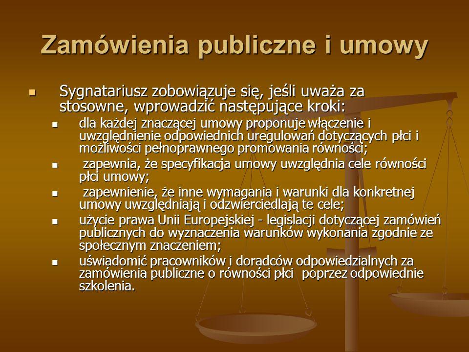 Zamówienia publiczne i umowy Sygnatariusz zobowiązuje się, jeśli uważa za stosowne, wprowadzić następujące kroki: Sygnatariusz zobowiązuje się, jeśli