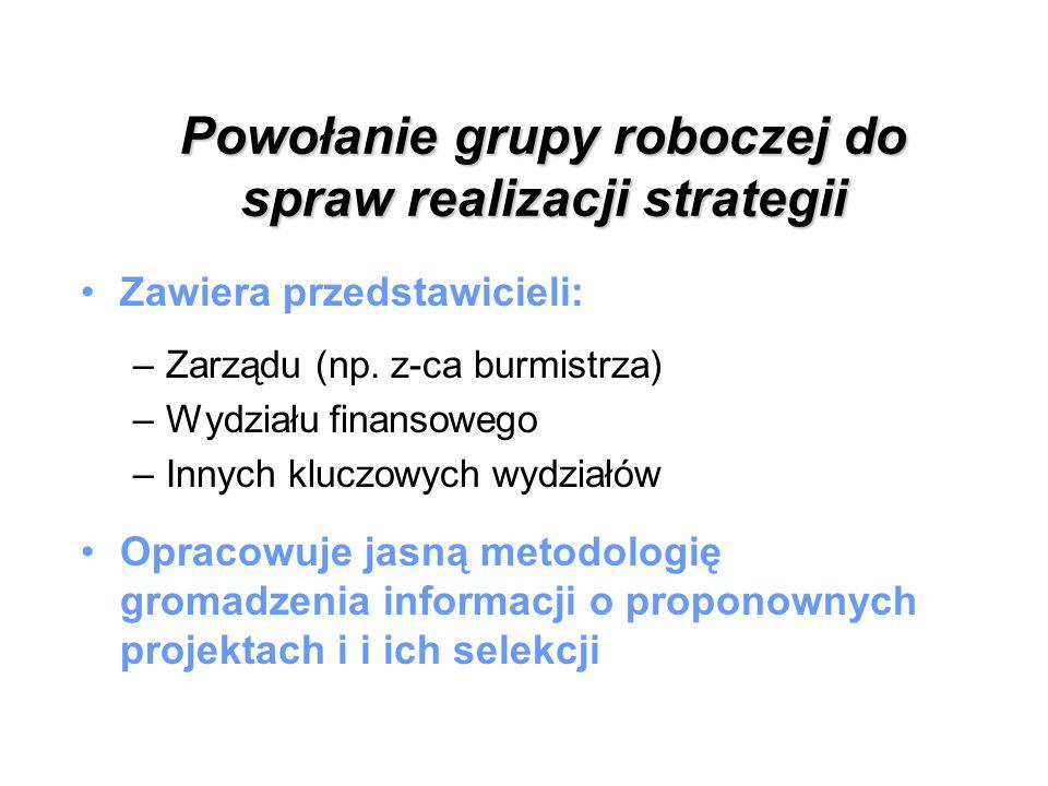 Powołanie grupy roboczej do spraw realizacji strategii Zawiera przedstawicieli: –Zarządu (np. z-ca burmistrza) –Wydziału finansowego –Innych kluczowyc