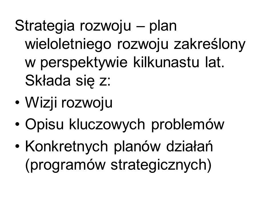 Strategia rozwoju – plan wieloletniego rozwoju zakreślony w perspektywie kilkunastu lat. Składa się z: Wizji rozwoju Opisu kluczowych problemów Konkre
