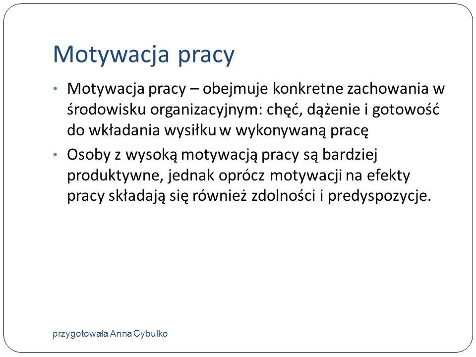 Motywacja pracy Motywacja pracy – obejmuje konkretne zachowania w środowisku organizacyjnym: chęć, dążenie i gotowość do wkładania wysiłku w wykonywan