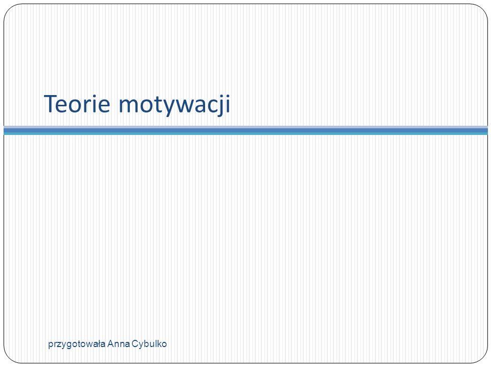 Teorie motywacji przygotowała Anna Cybulko