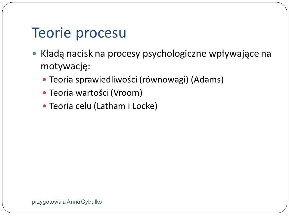 Teorie procesu Kładą nacisk na procesy psychologiczne wpływające na motywację: Teoria sprawiedliwości (równowagi) (Adams) Teoria wartości (Vroom) Teor