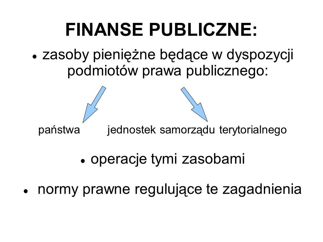 FINANSE PUBLICZNE: zasoby pieniężne będące w dyspozycji podmiotów prawa publicznego: państwa jednostek samorządu terytorialnego operacje tymi zasobami