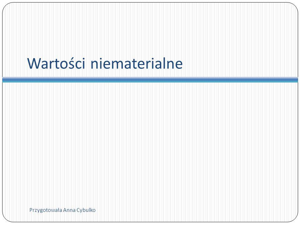 Wartości niematerialne Przygotowała Anna Cybulko