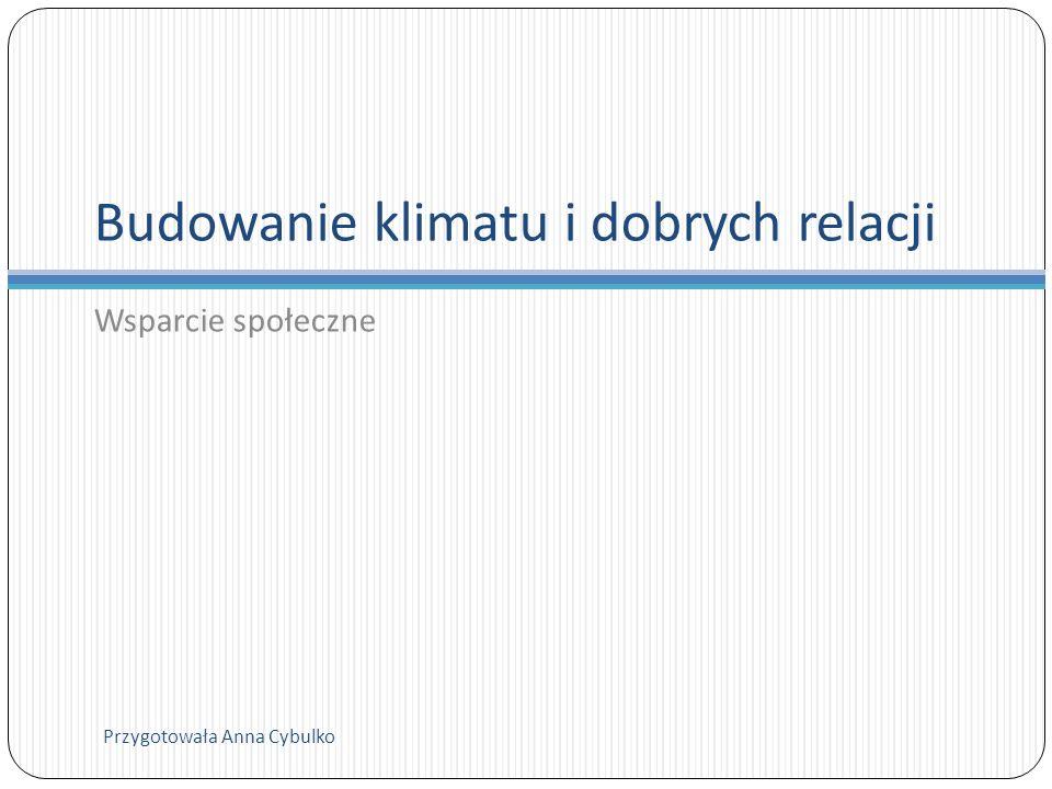 Budowanie klimatu i dobrych relacji Wsparcie społeczne Przygotowała Anna Cybulko
