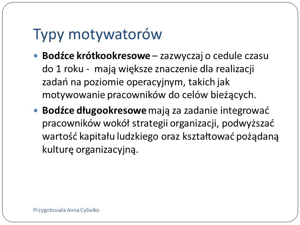 Typy motywatorów Bodźce krótkookresowe – zazwyczaj o cedule czasu do 1 roku - mają większe znaczenie dla realizacji zadań na poziomie operacyjnym, tak