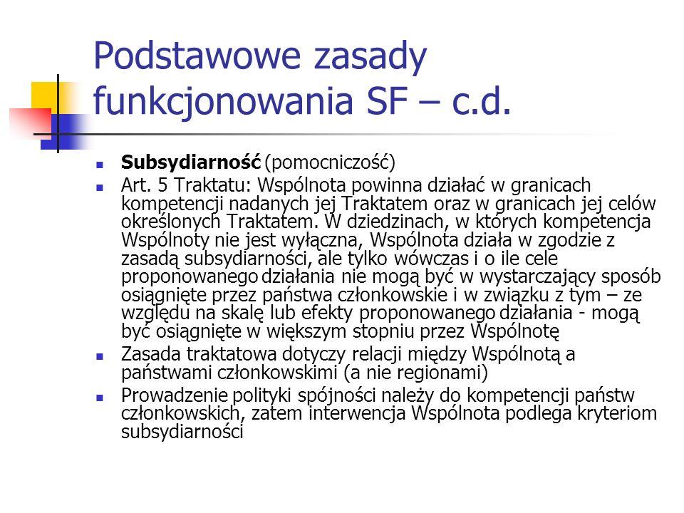 Podstawowe zasady funkcjonowania SF – c.d. Subsydiarność (pomocniczość) Art. 5 Traktatu: Wspólnota powinna działać w granicach kompetencji nadanych je