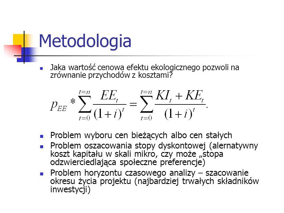 Metodologia Jaka wartość cenowa efektu ekologicznego pozwoli na zrównanie przychodów z kosztami? Problem wyboru cen bieżących albo cen stałych Problem