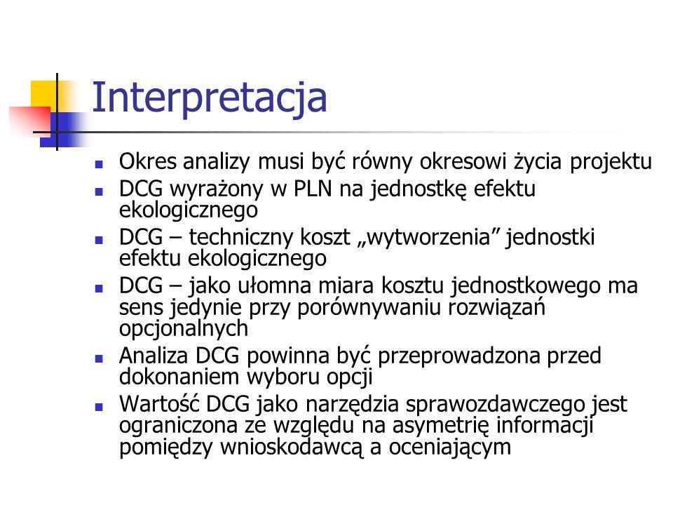 Interpretacja Okres analizy musi być równy okresowi życia projektu DCG wyrażony w PLN na jednostkę efektu ekologicznego DCG – techniczny koszt wytworzenia jednostki efektu ekologicznego DCG – jako ułomna miara kosztu jednostkowego ma sens jedynie przy porównywaniu rozwiązań opcjonalnych Analiza DCG powinna być przeprowadzona przed dokonaniem wyboru opcji Wartość DCG jako narzędzia sprawozdawczego jest ograniczona ze względu na asymetrię informacji pomiędzy wnioskodawcą a oceniającym