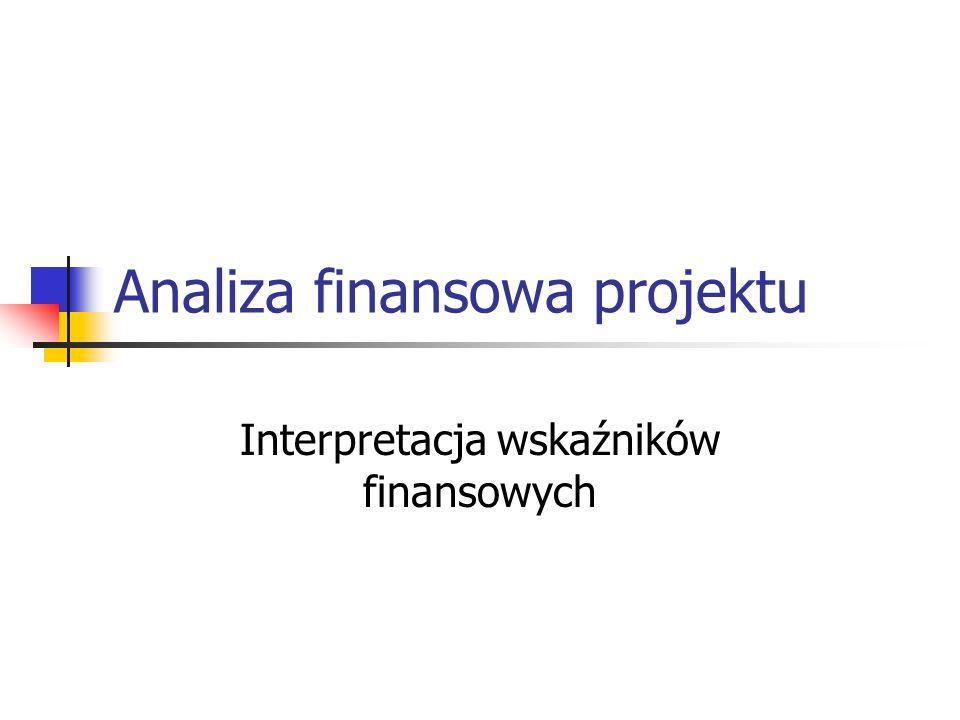 Analiza finansowa projektu Interpretacja wskaźników finansowych