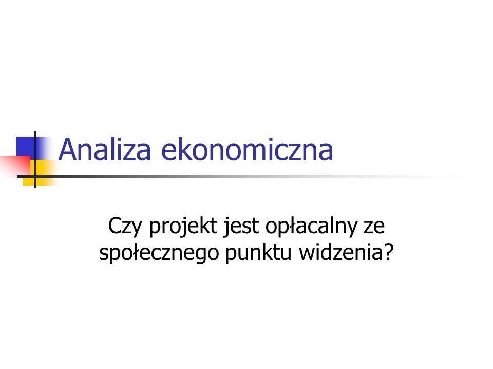 Analiza ekonomiczna Czy projekt jest opłacalny ze społecznego punktu widzenia?
