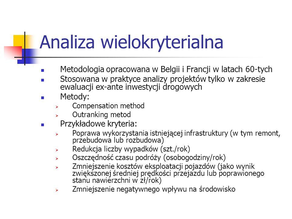 Analiza wielokryterialna Metodologia opracowana w Belgii i Francji w latach 60-tych Stosowana w praktyce analizy projektów tylko w zakresie ewaluacji ex-ante inwestycji drogowych Metody: Compensation method Outranking metod Przykładowe kryteria: Poprawa wykorzystania istniejącej infrastruktury (w tym remont, przebudowa lub rozbudowa) Redukcja liczby wypadków (szt./rok) Oszczędność czasu podróży (osobogodziny/rok) Zmniejszenie kosztów eksploatacji pojazdów (jako wynik zwiększonej średniej prędkości przejazdu lub poprawionego stanu nawierzchni w zł/rok) Zmniejszenie negatywnego wpływu na środowisko
