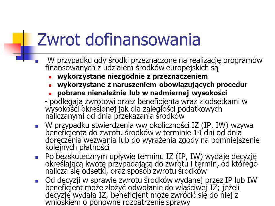 Zwrot dofinansowania W przypadku gdy środki przeznaczone na realizację programów finansowanych z udziałem środków europejskich są wykorzystane niezgodnie z przeznaczeniem wykorzystane z naruszeniem obowiązujących procedur pobrane nienależnie lub w nadmiernej wysokości - podlegają zwrotowi przez beneficjenta wraz z odsetkami w wysokości określonej jak dla zaległości podatkowych naliczanymi od dnia przekazania środków W przypadku stwierdzenia ww okoliczności IZ (IP, IW) wzywa beneficjenta do zwrotu środków w terminie 14 dni od dnia doręczenia wezwania lub do wyrażenia zgody na pomniejszenie kolejnych płatności Po bezskutecznym upływie terminu IZ (IP, IW) wydaje decyzję określającą kwotę przypadającą do zwrotu i termin, od którego nalicza się odsetki, oraz sposób zwrotu środków Od decyzji w sprawie zwrotu środków wydanej przez IP lub IW beneficjent może złożyć odwołanie do właściwej IZ; jeżeli decyzję wydała IZ, beneficjent może zwrócić się do niej z wnioskiem o ponowne rozpatrzenie sprawy