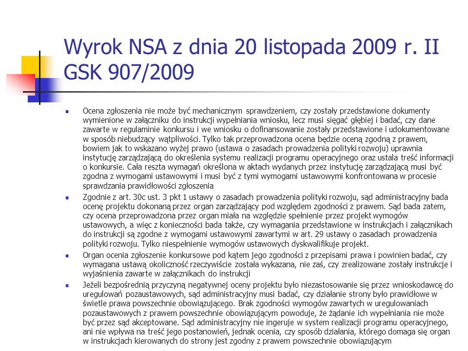 Wyrok NSA z dnia 20 listopada 2009 r.
