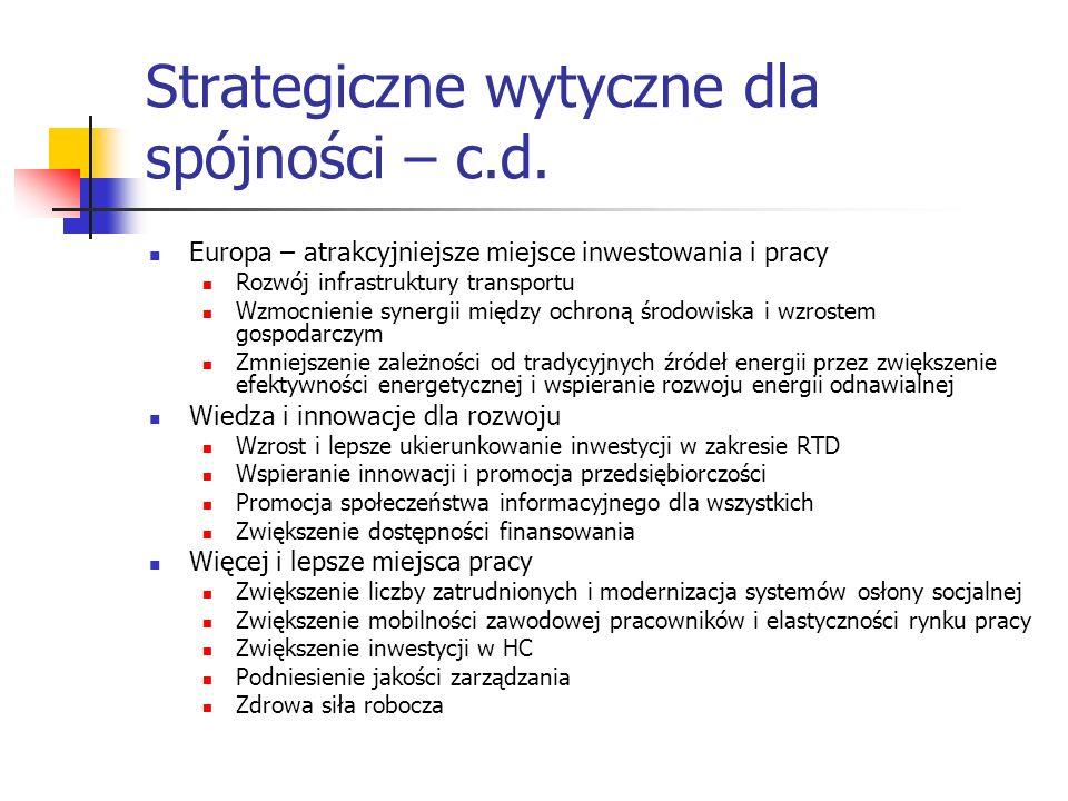Strategiczne wytyczne dla spójności – c.d. Europa – atrakcyjniejsze miejsce inwestowania i pracy Rozwój infrastruktury transportu Wzmocnienie synergii