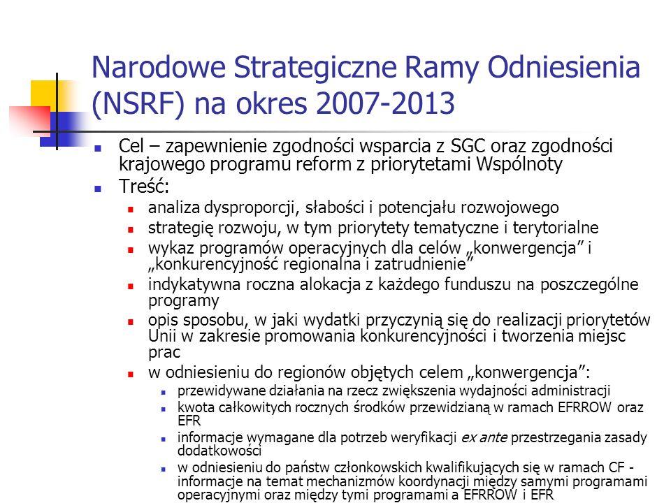 Narodowe Strategiczne Ramy Odniesienia (NSRF) na okres 2007-2013 Cel – zapewnienie zgodności wsparcia z SGC oraz zgodności krajowego programu reform z priorytetami Wspólnoty Treść: analiza dysproporcji, słabości i potencjału rozwojowego strategię rozwoju, w tym priorytety tematyczne i terytorialne wykaz programów operacyjnych dla celów konwergencja i konkurencyjność regionalna i zatrudnienie indykatywna roczna alokacja z każdego funduszu na poszczególne programy opis sposobu, w jaki wydatki przyczynią się do realizacji priorytetów Unii w zakresie promowania konkurencyjności i tworzenia miejsc prac w odniesieniu do regionów objętych celem konwergencja: przewidywane działania na rzecz zwiększenia wydajności administracji kwota całkowitych rocznych środków przewidzianą w ramach EFRROW oraz EFR informacje wymagane dla potrzeb weryfikacji ex ante przestrzegania zasady dodatkowości w odniesieniu do państw członkowskich kwalifikujących się w ramach CF - informacje na temat mechanizmów koordynacji między samymi programami operacyjnymi oraz między tymi programami a EFRROW i EFR