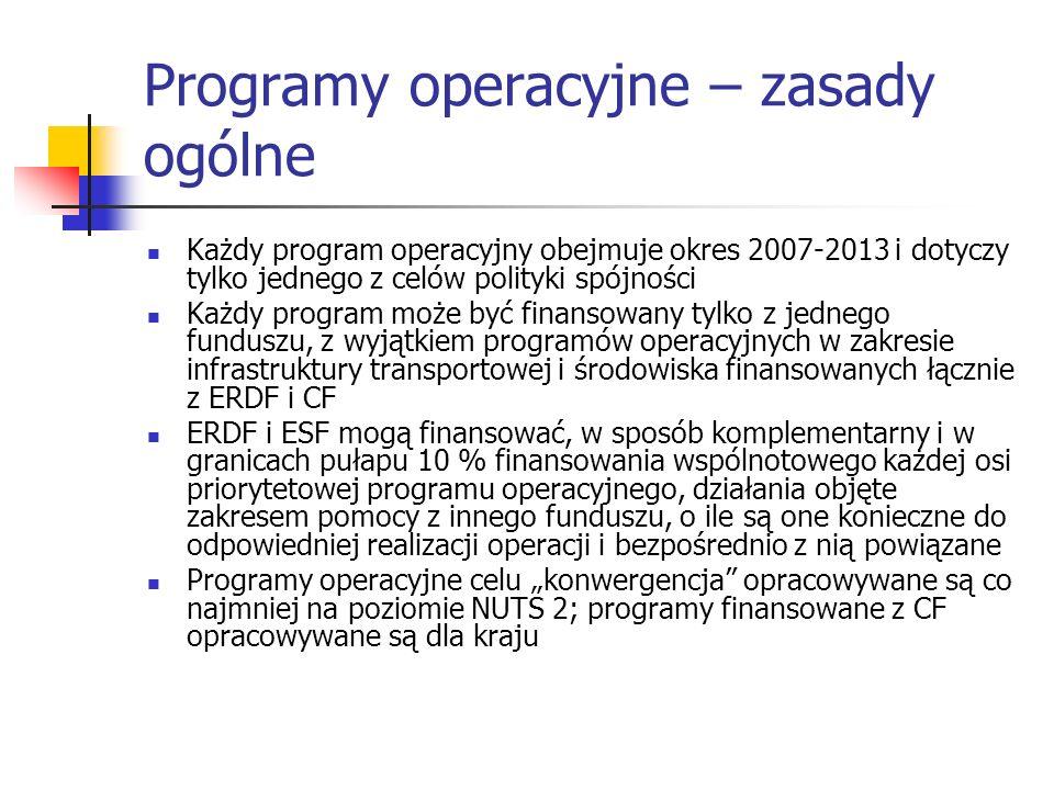 Programy operacyjne – zasady ogólne Każdy program operacyjny obejmuje okres 2007-2013 i dotyczy tylko jednego z celów polityki spójności Każdy program może być finansowany tylko z jednego funduszu, z wyjątkiem programów operacyjnych w zakresie infrastruktury transportowej i środowiska finansowanych łącznie z ERDF i CF ERDF i ESF mogą finansować, w sposób komplementarny i w granicach pułapu 10 % finansowania wspólnotowego każdej osi priorytetowej programu operacyjnego, działania objęte zakresem pomocy z innego funduszu, o ile są one konieczne do odpowiedniej realizacji operacji i bezpośrednio z nią powiązane Programy operacyjne celu konwergencja opracowywane są co najmniej na poziomie NUTS 2; programy finansowane z CF opracowywane są dla kraju